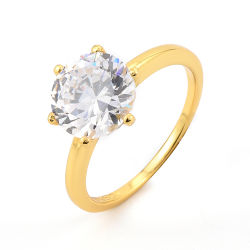 Keiyue Factory Direct Sales Engagement Gift 925 Silver CZ Gold 6구 링도 도금되어 있습니다