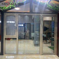 Алюминиевая рама двойные закаленного стекла дверная рама перемещена окно для выбросов парниковых газов