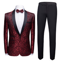 2020 New Design Herren Mode Slim Fit Anzug 2 Stück Männer Slim Ceremony Business Casual Anzug Full Dress Sticken Muster