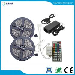 SMD 5050 RGB LED газа 12V 30 светодиодов/M водонепроницаемой гибкой ленты лента String+светодиодная подсветка RGB контроллер+12V адаптер питания
