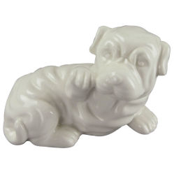 As embarcações de cerâmica em forma de animal, adorável Dog com esmalte branco