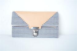 Top Fashion Stripe Tecido Canvas Wallet com fechadura para Mulheres