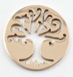 Chapado en oro rosa IP perforado cortar el árbol de la vida de la placa de moneda