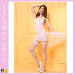 Sexy Witte Camisole van Kerstmis van de Slijtage van de Nacht van de Bruidssluier van de Lingerie van Chemise van het Kant van de Kouseband Bloemen Transparante Lingerie