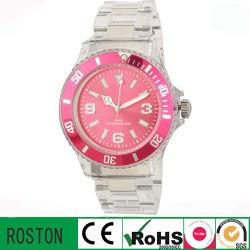 고객 디자인 Quartz Movement Plastic Transparent Watch