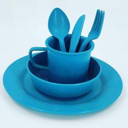 Insieme di bambù stabilito del piatto del padellame del capretto della fibra degli articoli per la tavola rotondi dei bambini