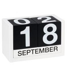 Bloco de Madeira Calendário perpétuo Preto Branco data Mês do Calendário do bloco de calendário de decoração de Desktop