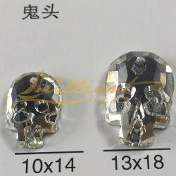 Brillant de la conception du crâne de cristal strass pour vêtements accessoires en verre