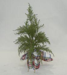 De groene Kunstmatige Installatie van het Blad van de Pijnboom met de Stof van het Patroon van de Controle voor BinnenDecoratie