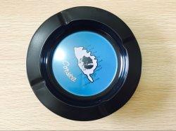 Großhandel Custom Round Push-Typ Metall-Zinn Spinning Zigarren Aschenbecher Mit benutzerdefiniertem Logo