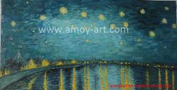Reproducción del famoso artista noche estrellada de Van Gogh Oleo