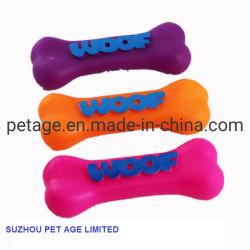 Novos Acessórios Pet borracha plástico Woof Vinil óssea Dog Brinquedos