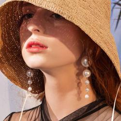 Neuer eleganter Rhinestone hängende lange Pendientes Mujer Moda Form Simulatd Perlen-Temperament-Kristallohrringe
