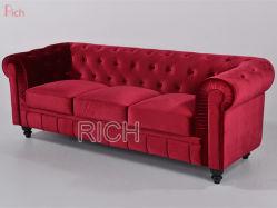 Mobiliario de casa salón rojo terciopelo tejido moderno sofá Chesterfield Hotel Bedroom conjunto sofá de Ocio