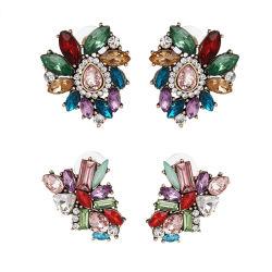Comercio al por mayor 2018 Diseño superior de la mujer Bisutería Accesorios bohemios exagerados pendientes de cristal de colores de flores