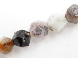 自然な多面体のタケ瑪瑙の宝石用原石のビード(6-10mm)