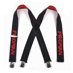 Logotipo estampado personalizado X forma elástica Suspender accesorios de cuero