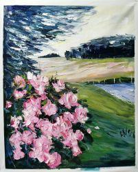 De pequeño tamaño, el paisaje de flores hechas a mano pinturas al óleo para la Decoración de pared