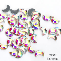 Qualidade elevada Crystal Ab Moon Shape Hot Fix Rhinestones posterior plana Pedras Hotfix para vestidos Decoration
