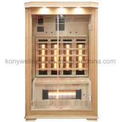 2 personne Sauna sec à infrarouge lointain salle rendu de la Pruche Bois et de grande façade de verre mur avec la tige de chauffage en céramique ou en carbone du panneau de chauffage