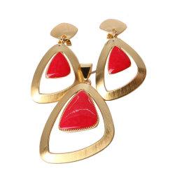 La mode plaqué or Bijoux Set de forme triangulaire avec Red Rhinestone