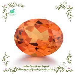 MGOの宝石の緩く総合的な鋼玉石の楕円形は宝石類に銀製の土台をするためのオレンジサファイアを良い切断の彫面を切り出されたビードの石切った