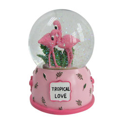 Valentine Loja cintilante resina de Esfera de água Flamingo Globo de neve