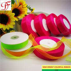 Imprimé en gros nylon tissé en usine Edge ORGANZA RIBBON pour l'emballage/décoration/xmas/arcs/cadeaux