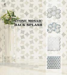 Penny ronde à six pans carré Rhombus mosaïques de pierre de marbre tuile pour comptoir de cuisine et salle de bain intérieur