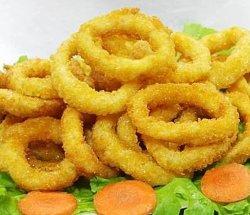 Замороженных морепродуктов кольца кальмаров хрустящий картофель жареный Calamari