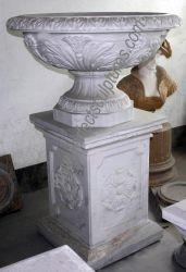 Giardino esterno marmo naturale decorazione Round Bowl pianta Pot pietra Vaso da fiori in vendita (QFP313)