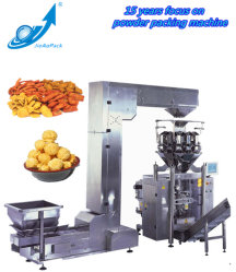 マルチヘッドによって重量を量るチップのための縦の自動微粒のパッキング機械か包装機械かキャンデーまたはピーナツまたは吹かれた食糧またはドライフルーツ