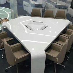 Reunión especial de escritorio con un diseño moderno de gestión de cables inteligente de lujo Corian blanco puro de piedra de cuarzo de acrílico encimera de mármol forma Triángulo Reunión Desk