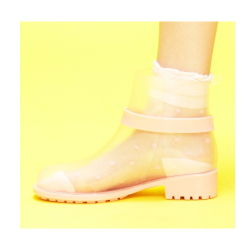 Tornozelo Botas de chuva de PVC transparente para as mulheres