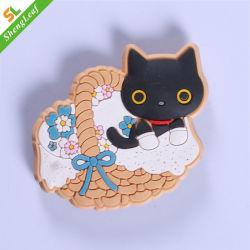 Zwarte Kat met de Magneet van de Koelkast van het Silicone van de Mand