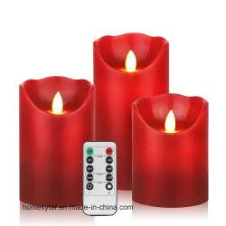 LED de gros de déplacement de fête de mariage romantique Flameless Candle scintillement électronique définie avec la commande à distance