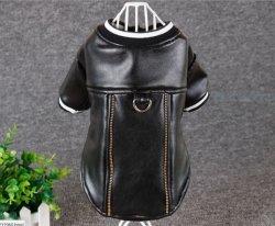 Fashion faux vêtements en cuir Zip vestes de chien d'usure d'hiver pet