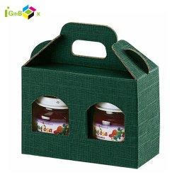 Lunettes de papier ondulé marron personnalisée bouteille transporteur Jam Jar Boîte de papier Kraft avec fenêtre