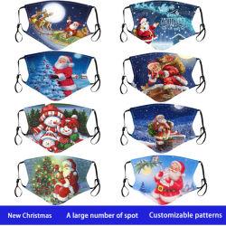 Respiratore in tessuto natalizio traspirante traspirante in cotone antipolvere e resistente all'acqua calda Il filtro può essere inserito nel cotone tema natalizio per adulti Respiratore