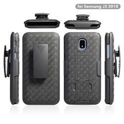 Samsung J3 2018년을%s Kickstand 자동차 또는 셀룰라 전화 상자건축하 에서 결합 직물 패턴 권총휴대 주머니