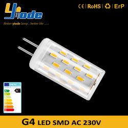G4 LED 230V 4014SMD Dimmableは陶磁器LEDの球根シャンデリアのための非明滅する