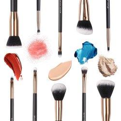Mestre da escova escovas de maquiagem, Fundação Kabuki Sintético Premium Pó Face Corar Eyeshadow Kit da Escova de cosméticos de lábio 10PCS prontos para envio