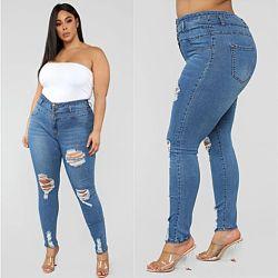 Mayorista de promoción de la Mujer Plus Size a granel de moda los pantalones vaqueros pantalones vaqueros de Stock damas