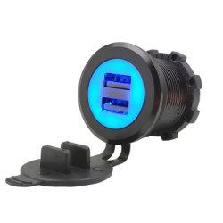 شاحن سيارة USB بمنفَين بجهد 12 فولت وبقوة 3 فولت وبقوة 3,1 أمبير شاحن سيارة معدني أزرق بمصباح LED من الألومنيوم حلو شاحن USB مزدوج