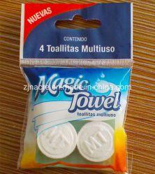 Pequeña bolsa llena de magia de la moneda comprimido Nonwoven biodegradable, tejido Toalla de cara