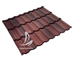 화려한 색깔의 석재 코팅 지붕 타일 본드 유형 태양 테라코타 메탈 블랙 및 그레이 컬러 샌드 코팅 메탈 스틸 루프
