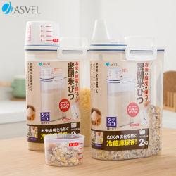 Multifuncional Asvel Contenedor de almacenamiento sellado transparente a prueba de insectos Moistureproof Granos de cereales de granos de café granos de arroz, alimento para mascotas hogar Contenedor de plástico