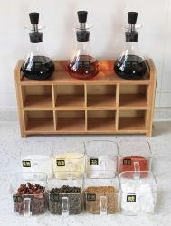 Бамбук кухонные системы хранения данных для установки в стойку органайзера Spice бачок банок держатель для установки в стойку бамбук кладовой данные органайзера