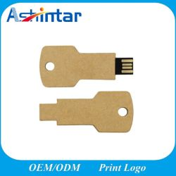 شعار مخصص ورق Eco USB Memory Stick تمت إعادة تدوير شكل المفتاح محرك أقراص USB