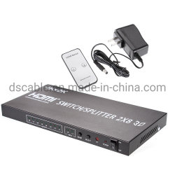 2X8 3D HDMI 4K verdadero divisor de conmutador de matriz de 2 en la fuente 8 Pantalla con mando a distancia